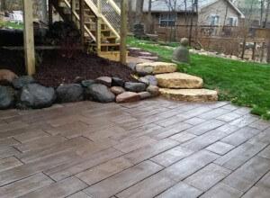 Paver patio, plank block, boulder steps, natural stone steps, boulders