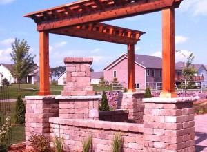 Pergola, outdoor fire place, pillars, patio