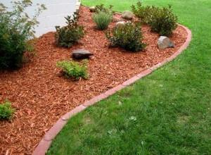 Sodding, retaining walls, plantings, bushes, trees, edging